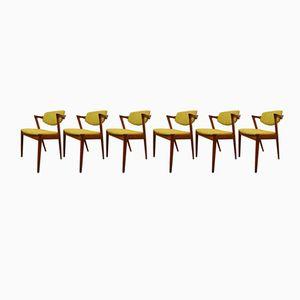 Vintage Modell 42 Esszimmerstühle von Kai Kristiansen für Schou Anderson, 4er Set