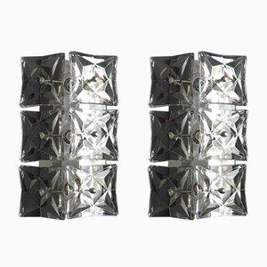 Lampade da parete in cristallo e metallo cromato di Kinkeldey, anni '60, set di 2