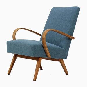 Bugholz Sessel mit Blauem Stoff von Ton, 1960er