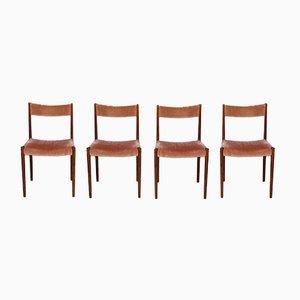Deutsche Esszimmerstühle aus Palisander & Mohair-Samt von Lübke, 1960er, 4er Set