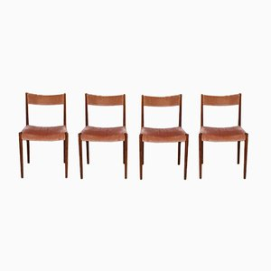 German Rosewood & Mohair Velvet Dining Chairs from Lübke, 1960s, Set of 4