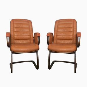 Leather Cantilever Desk Chairs by Albert Stoll for Giroflex, 1960s, Set of 2