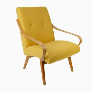 Vintage Yellow Wool Armchair, 1960s
