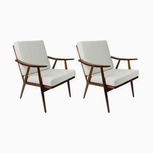 Vintage Beige Lounge Armchairs, 1960s, Set of 2