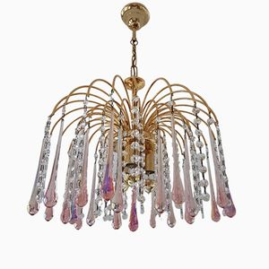 Murano Glass & Brass Teardrops Chandelier by Paolo Venini, 1970s