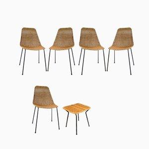 Korbgeflecht Esszimmerstühle und Hocker von Gian Franco Legler für Pierantonio Bonacina, 1950er, 6er Set