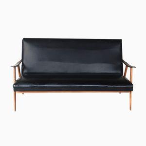 Vintage Teak & Black Skai Sofa