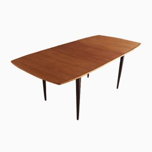Long English Teak Extendable Table with Tapered Legs, 1970s