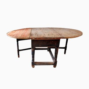 Antique Swedish Rococo Drop Leaf Table