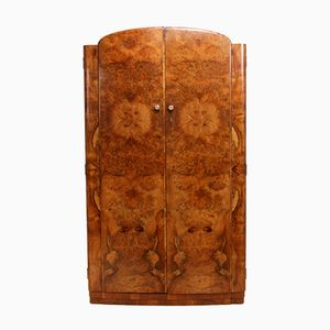Vintage Art Deco Burr Walnut Wardrobe
