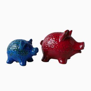 Keramik Sparschweine von Aldo Londi für Bitossi, 1960er, 2er Set