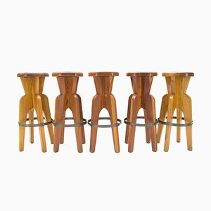 Solid Wooden Stools, 1960s, Set of 5