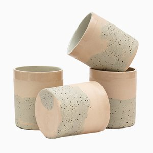 Ceramic Cups in Speckled and Pink Coloured Clay by Maevo, 2017, Set of 4