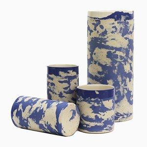Keramik Becher aus Blau Gesprenkeltem Ton von Maevo, 2017, 2er Set