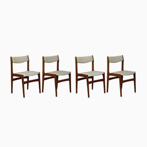 Mid-Century Teak and Linen Chairs, Set of 4