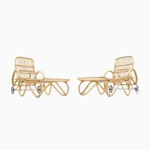 Bambus & Rattan Gartenstühle, 1950er, 2er Set