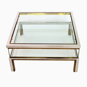 Brass & Chrome Coffee Table with Sliding Top Compartment from Maison Jansen, 1970s