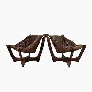 Vintage Luna Lounge Chairs by Odd Knutsen for Hjellegjerde, Set of 2