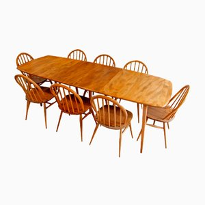 Windsor Extending Dining Table & 10 Chairs by Lucian Ercolani for Ercol, 1960