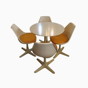 Mid-Century Tulip Dining Table & 4 Chairs by Maurice Burke for Arkana