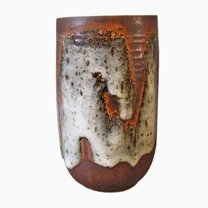 Braune Vase mit Heller Glasur von Jørgen Mogensen, 1960er