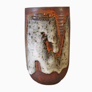 Brown Vase with Light Glaze by Jørgen Mogensen, 1960s