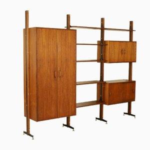 Italian Teak Veneer, Metal & Brass Bookcase, 1960s