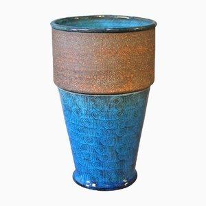 Blau Glasierte Keramik Vase von Niels Kähler, 1960er
