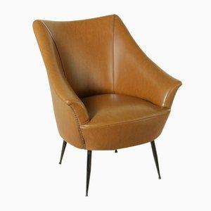 Italian Armchair with Skai Upholstery & Metal Legs, 1950s