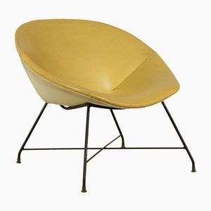 Italian Metal, Brass & Leatherette Lounge Chair by Augusto Bozzi for Saporiti, 1950s
