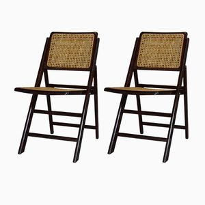 Wood & Cane Folding Chairs, 1960s, Set of 2