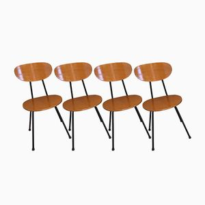 Wooden Chairs, 1960s, Set of 4