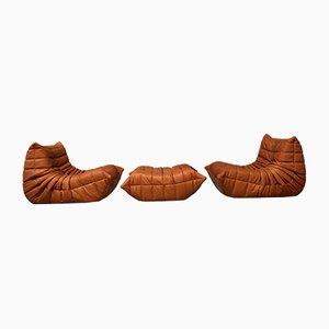 Cognacfarbene Vintage Togo Sitzgruppe aus Leder von Michel Ducaroy für Ligne Roset