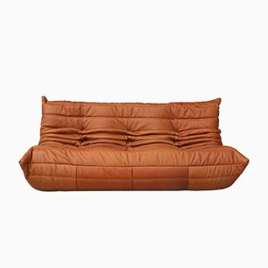 Vintage Togo Cognac Leather Three-Seater Sofa by Michel Ducaroy for Ligne Roset