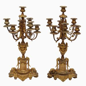 Vergoldete Napoleon III Kerzenständer aus Bronze mit Sechs Armen, 1870er, 2er Set