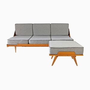 Mid-Century Sofa Bed with Pouf, 1960s