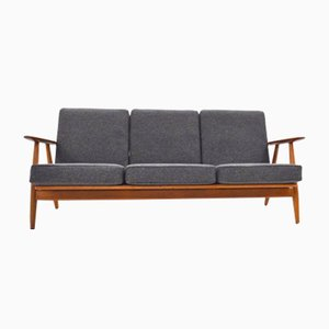 Danish GE-240 Oak, Teak & Gray Wool Cigar Sofa by Hans J. Wegner for Getama, 1950s