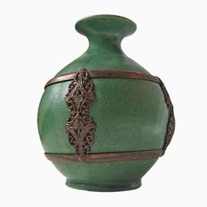 Antike Grüne Dänische Keramik Vase mit Messingdetails von Herman August Kähler