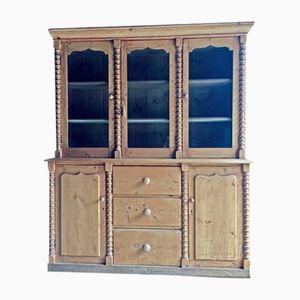 Antique Pine Display Cabinet, 1870s