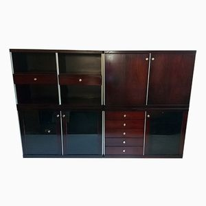 Brutalist Cabinet and Sideboards in Rosewood, 1960s, Set of 6
