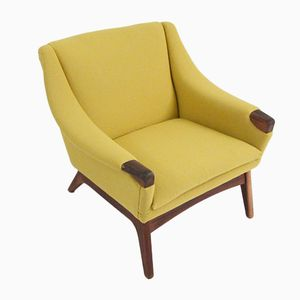 Vintage Danish Armchair in Wood & Wool