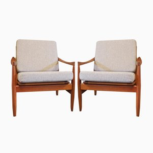 Teak Easy Chairs by Kai Kristiansen for Skive Møbelfabrik, 1960s, Set of 2