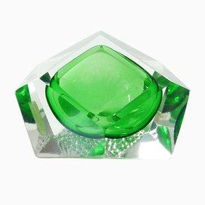 Italienischer Grüner Murano Glas Aschenbecher, 1960er