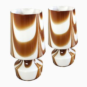 Belgian Table Lamps with Glass Shades, 1960s, Set of 2