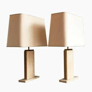 Belgian Travertine Marble Lamps by Camille Breesch, 1970s, Set of 2