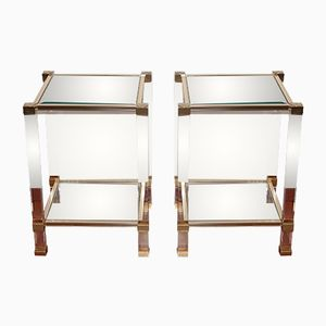 Vintage Glass Side Tables by Pierre Vandel, Set of 2