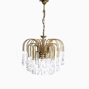 Vintage Brass and Murano Glass Chandelier by Paolo Venini, 1960s