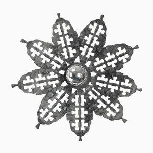 Brutalistische Deckenlampe in Blütenform