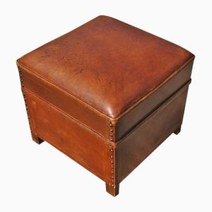 French Leather Footstool