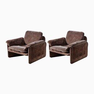Braune Mid-Century Wildleder Sessel von Cassina, 2er Set